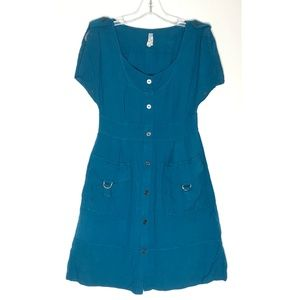 Maeve Anthropologie Teal Blue Green Mini Dress